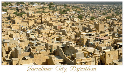 Cluster of houses. City of Jaisalmer, Rajasthan. India. South Asia