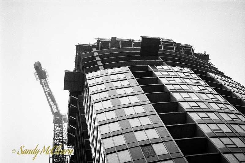 Maple Building under construction on Ilford Delta 400 film.