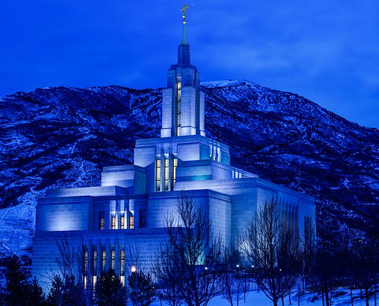 Draper Mormon Lds Temple Winter Dusk