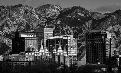 Salt Lake City (Black and White) at Sunset in the Winter - Utah