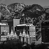 Salt Lake City (Black and White) at Sunset in the Winter - Utah