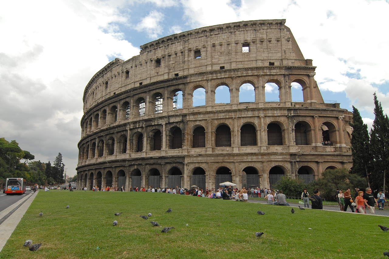 "Colosseum, Rome, Italy, Europe. The Flavius amphitheatre is the biggest and most imposing in the Roman world, but is also the most famous monument in Rome and is known as the ""Colosseum"" or ""Coliseum"". Started by Emperor Vespasian of the Flavia family, it was opened by his son Titus in 80 A.D."