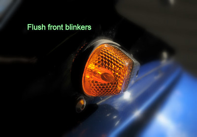 Front blinkers replaced with stylish flush mount design.