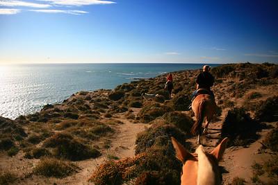 Horseback riding, Peninsula Valdes, Patagonia, Argentina.