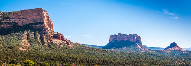 Courthouse Butte (C) and Bell Rock (R) Facing South