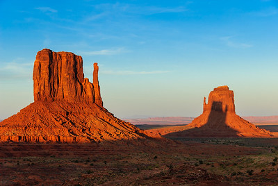 'Living in Her Sister's Shadow', East and West Mitten, Monument Valley, Arizona
