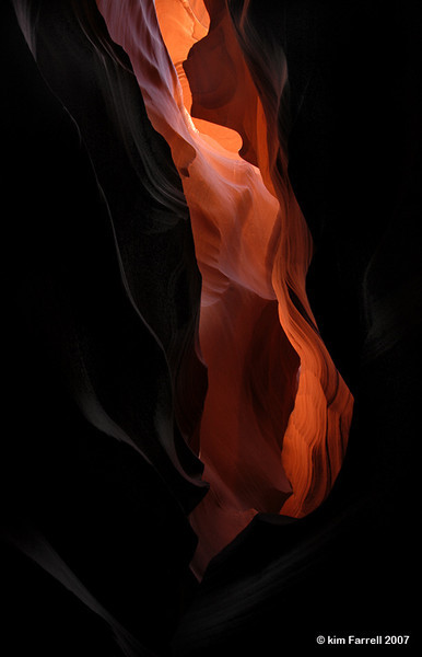 """""""Fire in the Canyon"""".  Reflected light.  Antelope Canyon, AZ."""