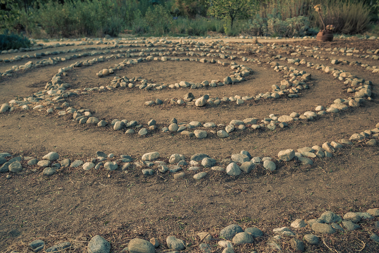Circle Maze made of stones in Arlington Garden