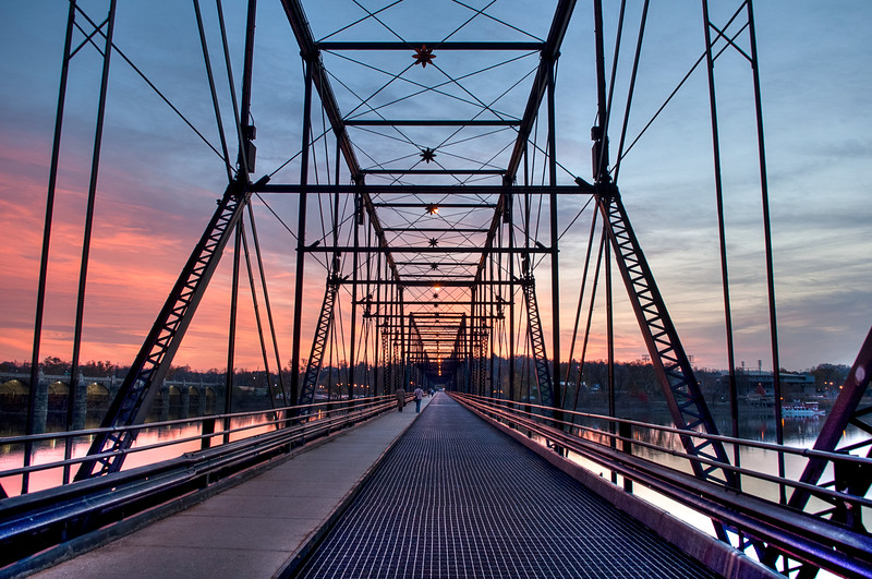 Walnut Street Bridge in red sunset