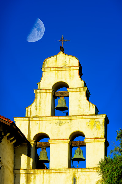 Mission Bell Tower Closeup Moonset