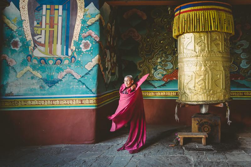 Punakha Dzong - a prayer wheel at the entrance