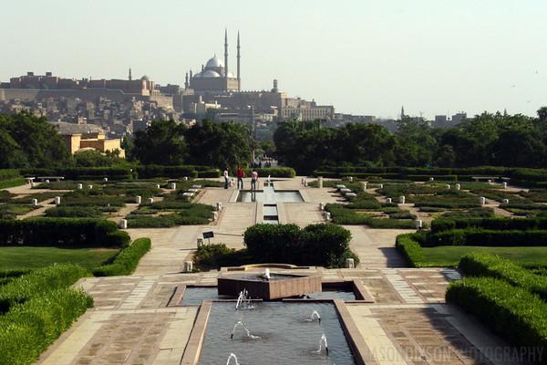 View of Cairo's Citadel from Al-Azhar Park