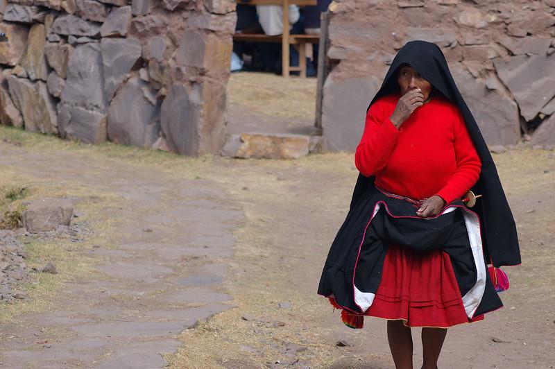 Indigenous woman at Lake Titicaca