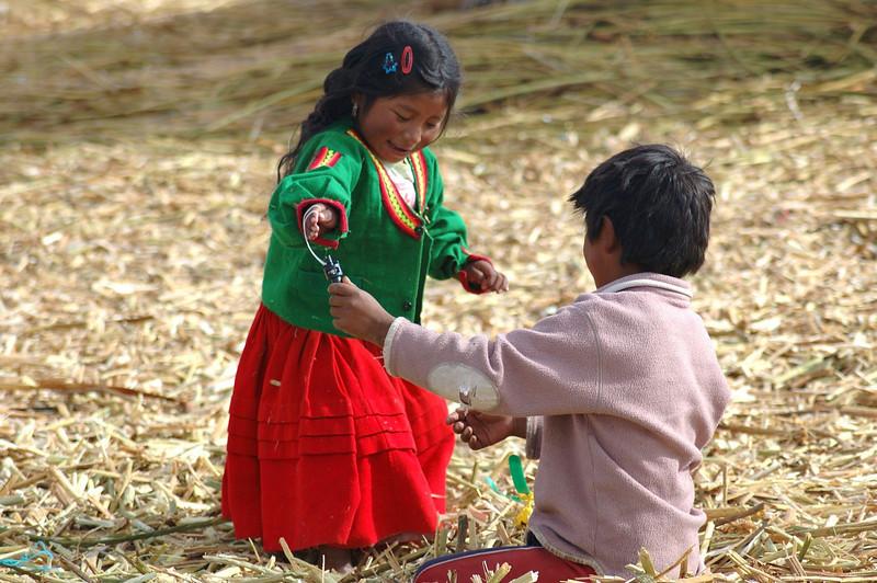 Children at Lake Titicaca