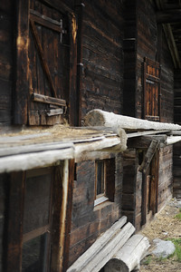 Old, wooden building in Zermatt, Switzerland.  Homes/structures like this pepper the Swiss Alps.