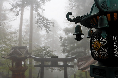 A lamp lost in the mist - Mitsumina-jinja shrine - Japan, May 2008