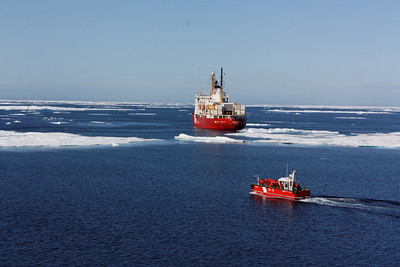 The barge and its mother ship - MALINA cruise, Beaufort Sea, August 2009
