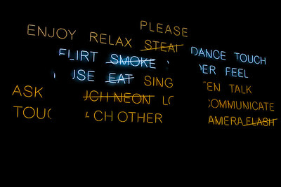 Jeppe Hein's neon sign at the MFA on opening day. (September 18, 2011)