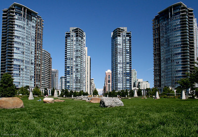 Vancouver skyscrapers.  Corrected perspective makes buildings appear vertical.
