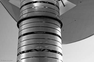 Support column for large outdoor roof next to the Fashion Show Mall Las Vegas Nevada. B/W treatment
