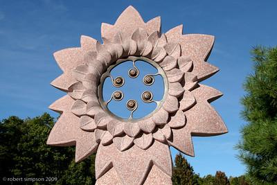 Sun sculpture at Tower Hill Botanical Garden.