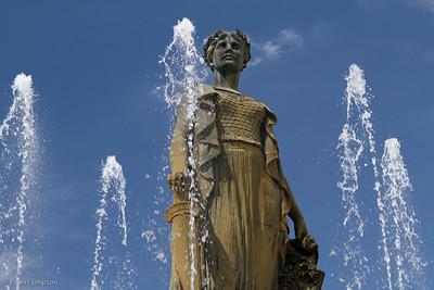 Joseph Addison Thatcher water fountain stands watch over Denver City Park.