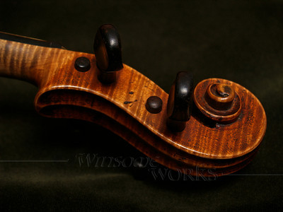 #5 - Violin Scroll on Green Velvet