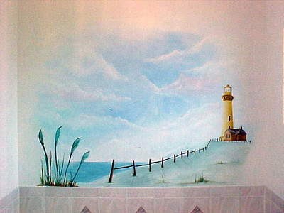 Lighthouse mural above bath.