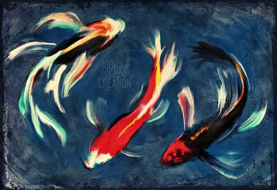 "Day 94 - Nishikigoi ~ Multimedia painting, 16""x11"""