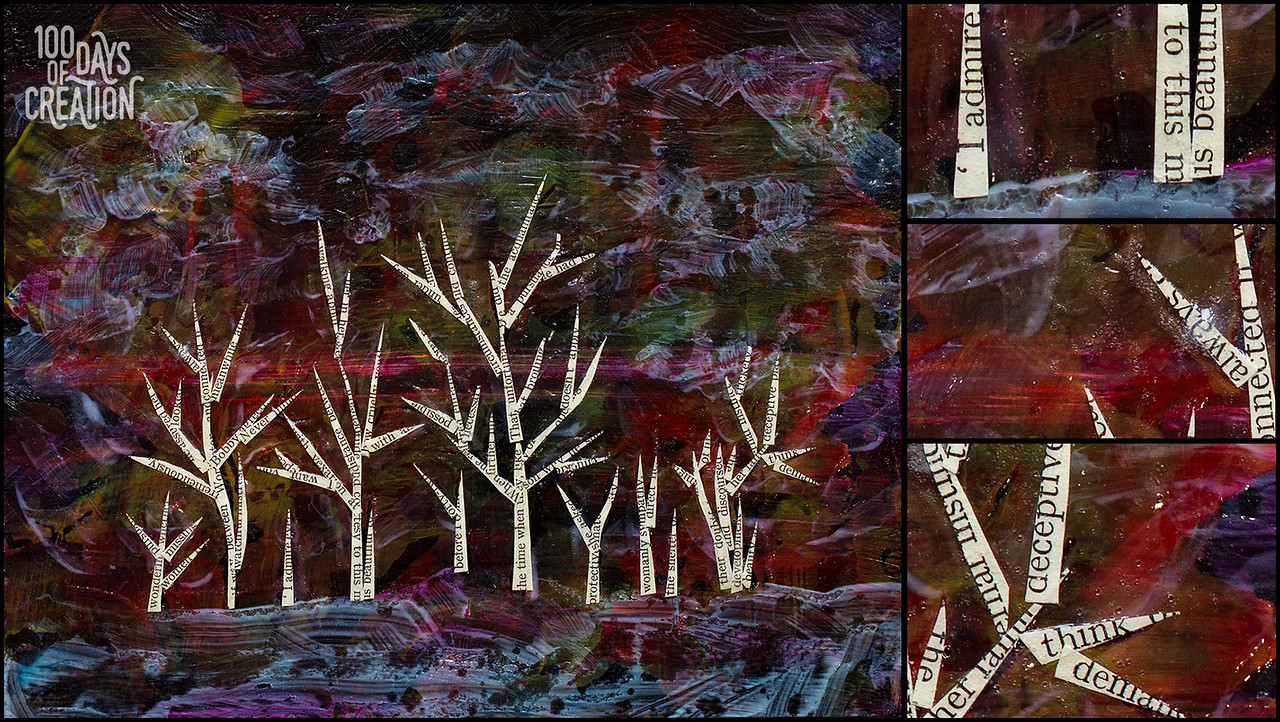 """Day 3 - DayTree, Mixed media on wood panel 8""""x10"""""""