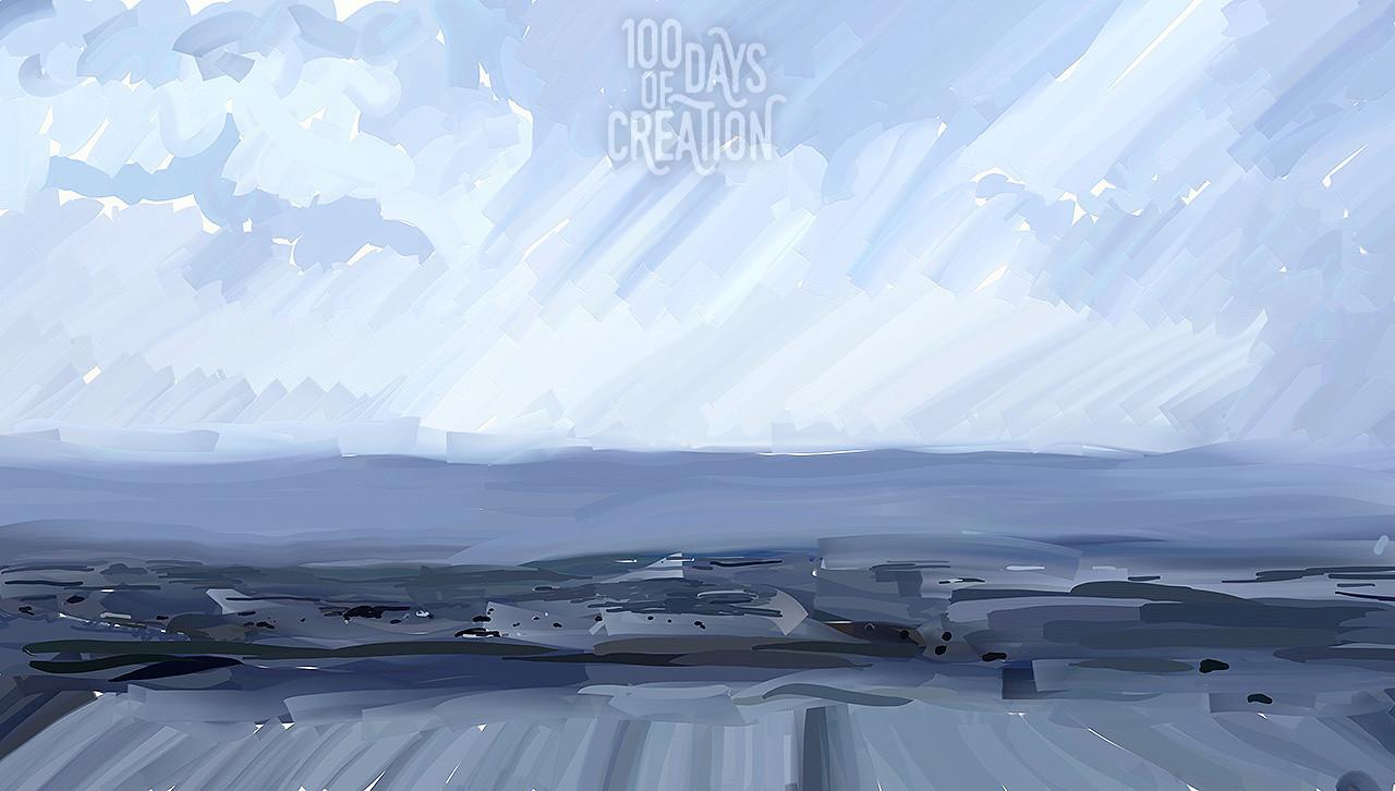 "Day 45 - Beach ~ Digital painting, 18""x10"""