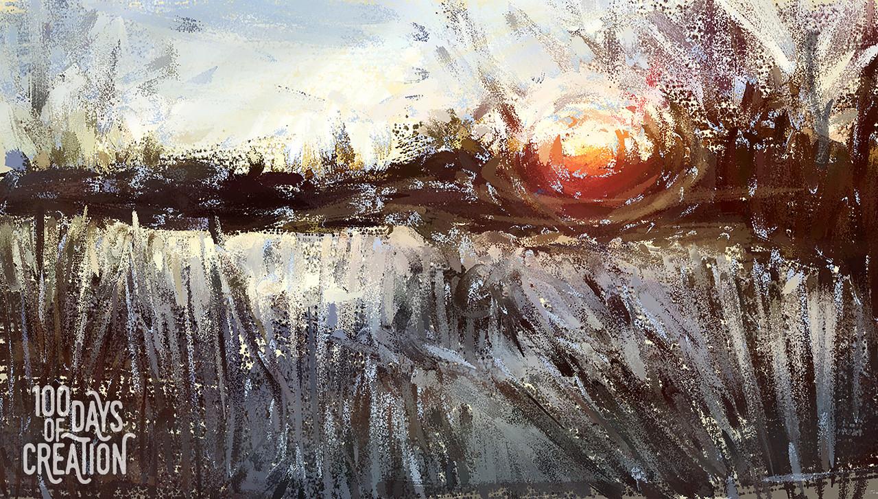 """Day 38 - Morning Marsh ~ Digital Painting, 18""""x10"""""""