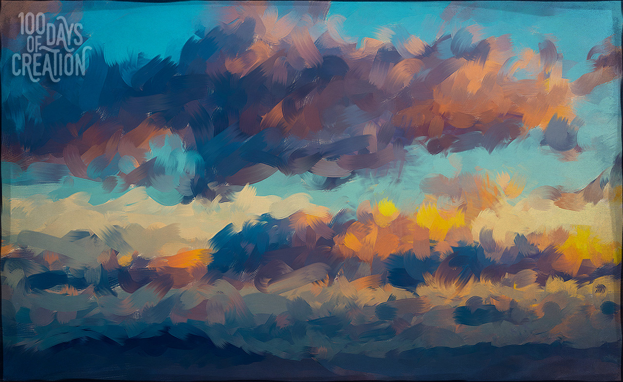 """Day 43 - Above ~ Multimedia painting, 18""""x11"""""""