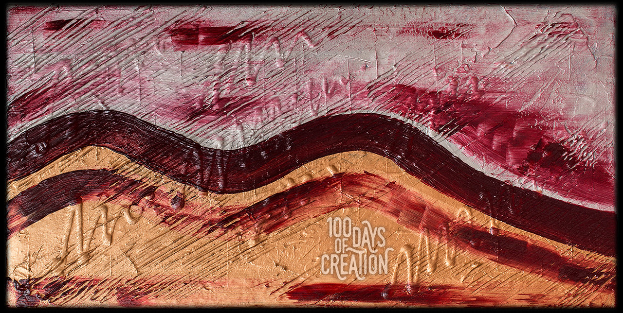 """Day 26 - Crimson Sky ~ acrylic on canvas, 24""""x12"""""""