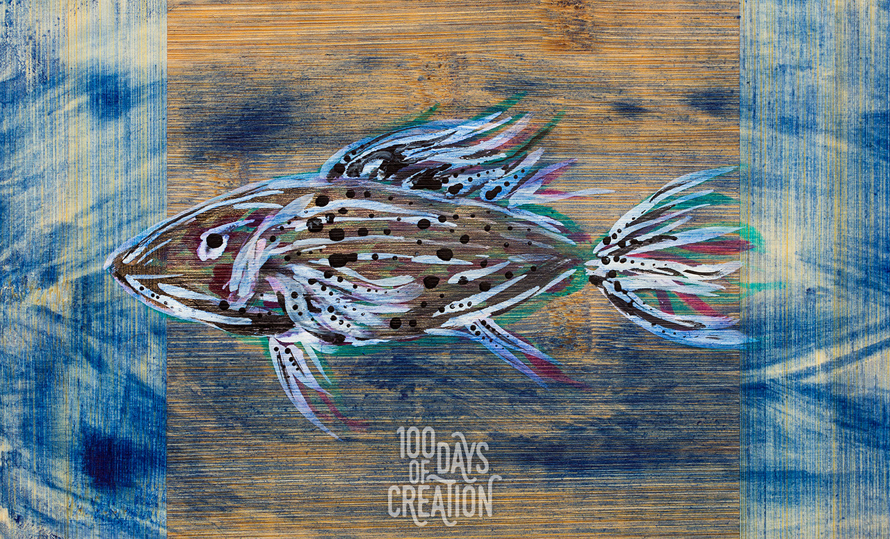 "Day 35 - Little Fins ~ Acrylic on bamboo, 8""x5"""
