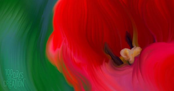 "Day 97 - Redb ~ Digital Painting, 17""x9"""