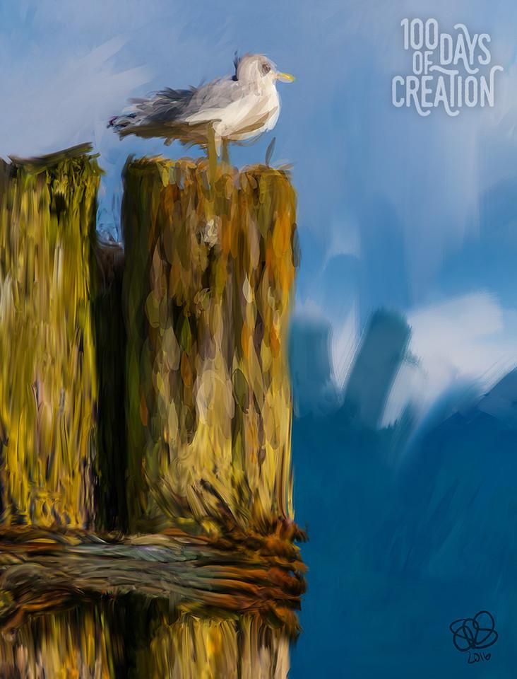 "Day 37 - Sentinel ~ Digital Painting, 16"" x 21"""