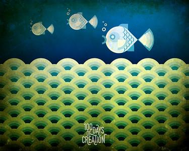 """Day 66- Three Fish ~ Digital comp, 6"""" x 4.8"""""""