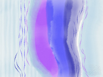 """Day 59 - River ~ Multimedia painting, 12""""x9"""""""