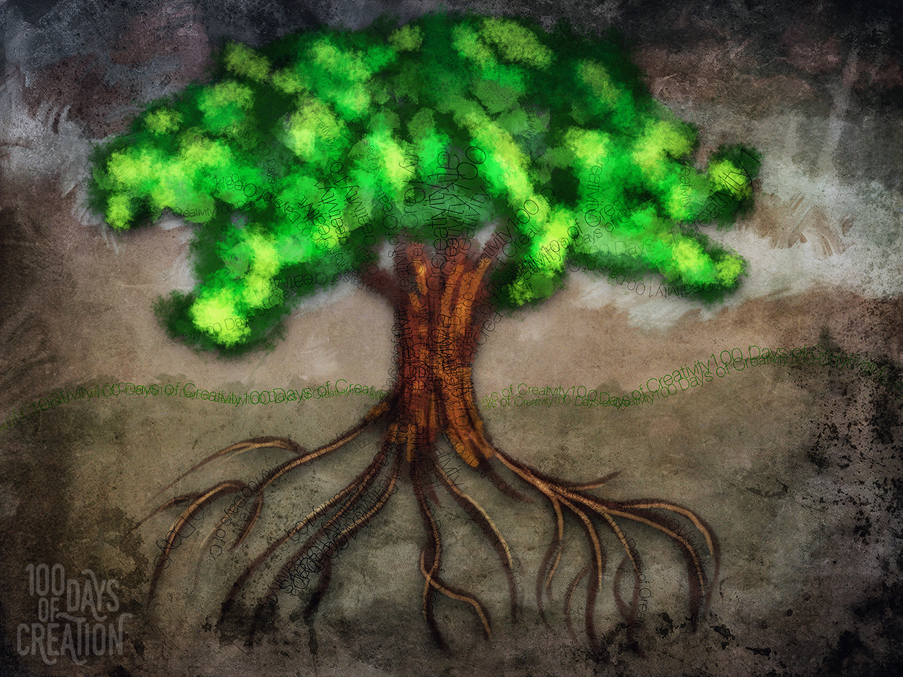 "Day 49 - Tree100 ~ multimedia painting, 12"" x 10"""
