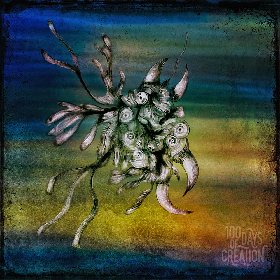 "Day 20 - Monster series 2b ~ Digital sketch overlay on light painting. 5""x5"" with resin"