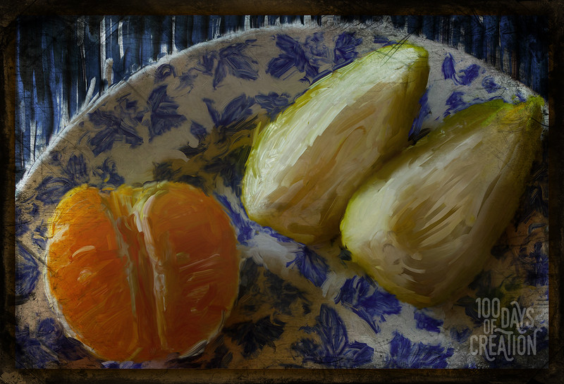 "Day 93 - Orange N' Pears ~ Multimedia painting, 12""x8"""