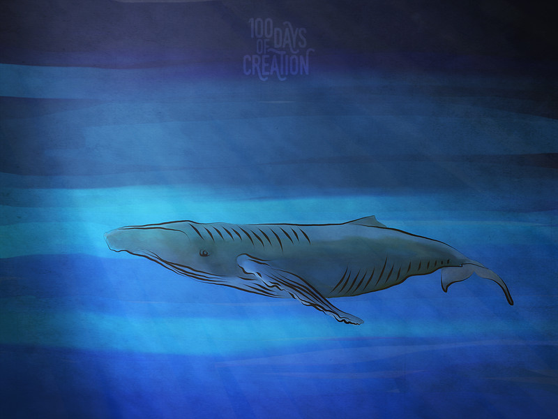 "Day 64 - Whale ~ Multimedia painting, 12""x9"""