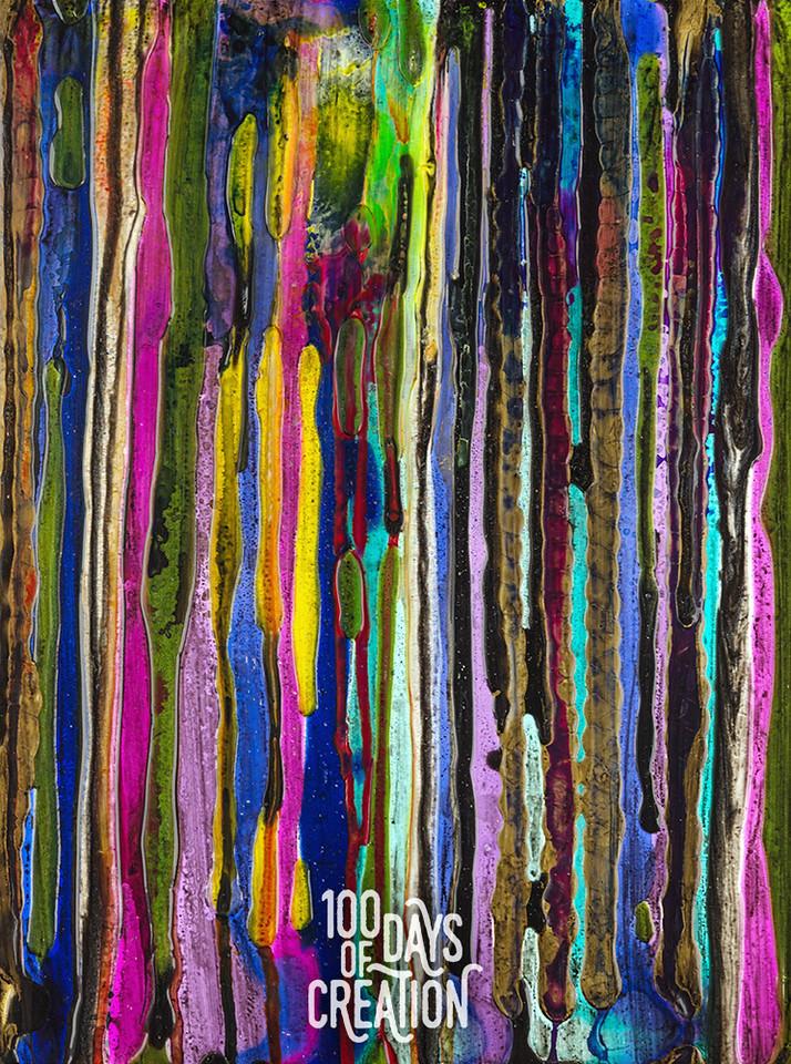 "Day 39 - Barking Up ~ Acrylic on Bamboo, 12""x15"""