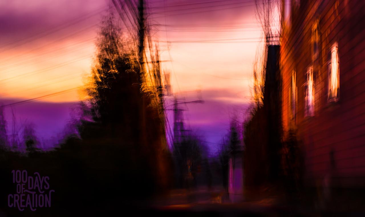 """Day 9 - Purple Perambulate - light painting, 10""""x18"""""""