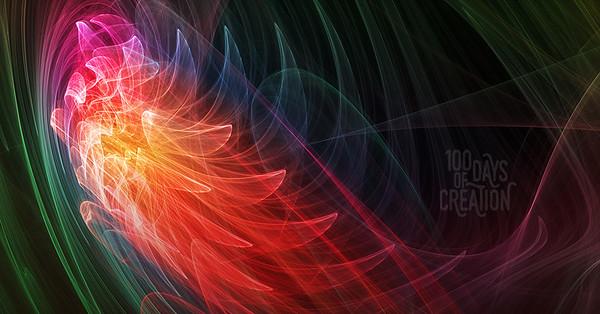 "Day 98 - Light Dragon ~ Algorithmic chaos painting, 17""x9"""
