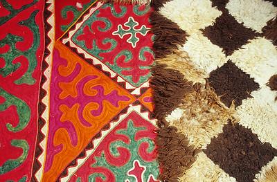 Carpets inside a Kyrgyz yurt, Tash Rabat, Kyrgyzstan