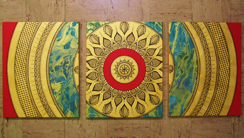 This is the first triptic piece of the series.  A friend commissioned me to do a painting with 3 panels, and since then its been an obsession!