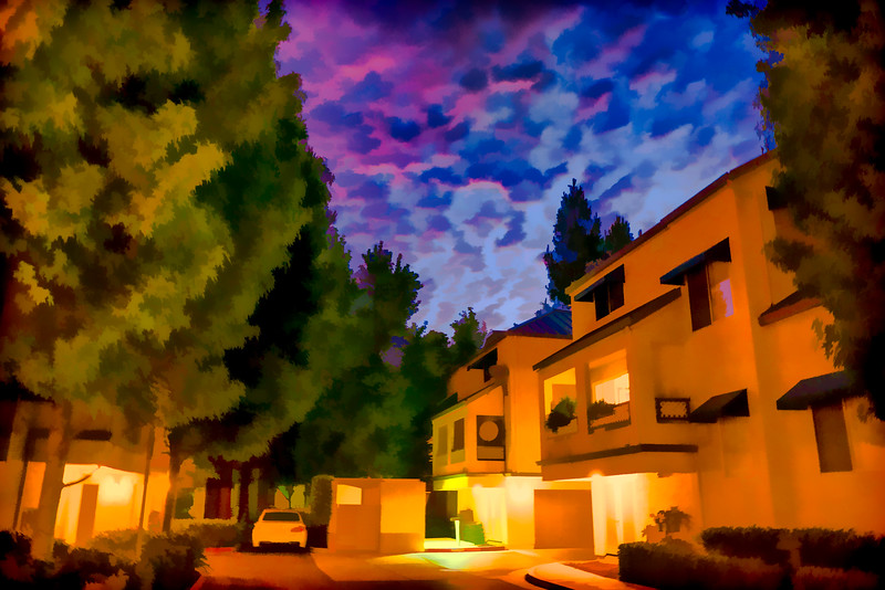 Condominium Complex Night Scene