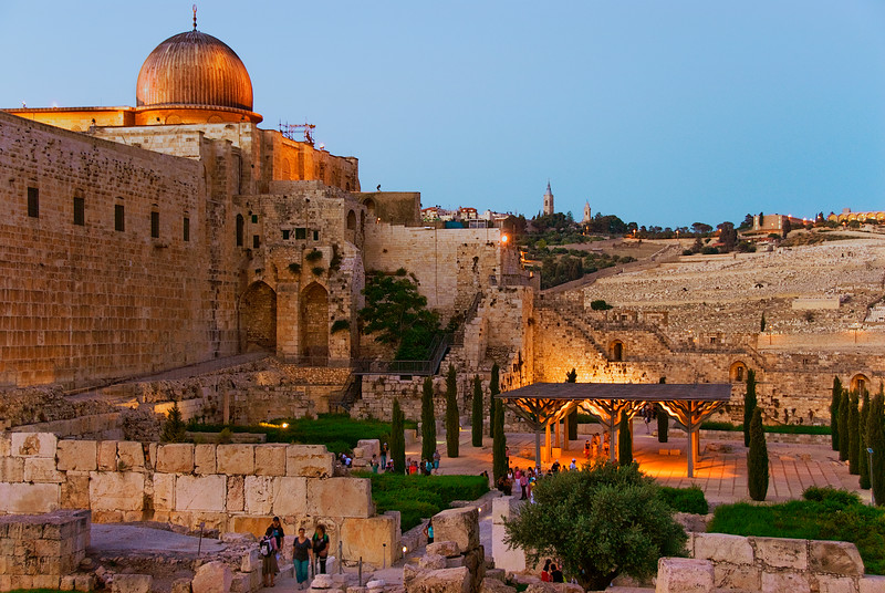 Jerusalem, sunset view of Temple Mount, Al Aqsa Mosque, Jewish Cemetery and Mount of Olives